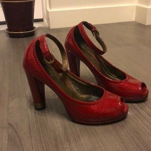 Red peep-toe maryjane heels size 5.5M